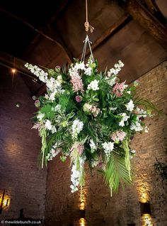 Top Bristol wedding stylist/florists, The Wilde Bunch maxing out on the 'wow' with overhead ceremony designs at Cripps Barn in The Cotswolds. Barn Wedding Flowers, Wedding Venue Decorations, Cripps Barn Wedding, Barn Wedding Venue, Stone Barns, Park Weddings, Floral Style, Wow Products, Floral Arrangements