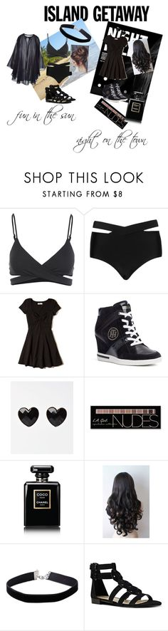 """""""R&R never looked so good"""" by onnilynch ❤ liked on Polyvore featuring L*Space, Cactus, Hollister Co., Tommy Hilfiger, Charlotte Russe, Chanel, Miss Selfridge and Nine West"""