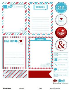 Airmail Project Life Journaling Elements Project Life Journaling Cards - Free printable download with chalkboard journaling elements. Use for pocket scrapbooking, day planners and other papercrafts. For personal use only. Red White Blue