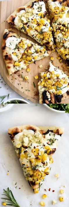 A Creative Take on an Old Favorite - charred corn and rosemary grilled pizza Think Food, I Love Food, Good Food, Yummy Food, Tasty, Vegetarian Recipes, Cooking Recipes, Healthy Recipes, Vegetarian Pizza