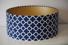 Handmade Drum Lamp shade covered in Navy Riley Blake