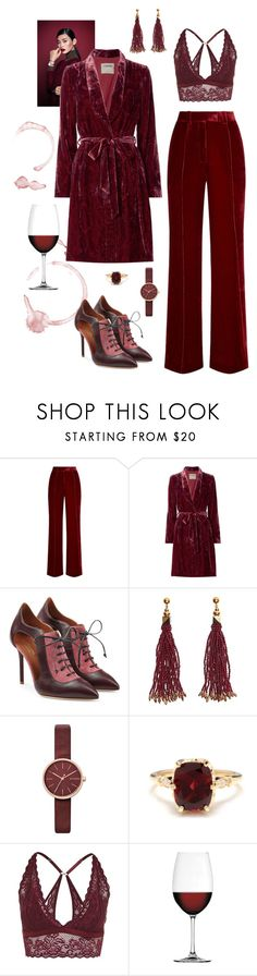 """""""Red Red Wine"""" by naomi-mann ❤ liked on Polyvore featuring Daniel Wellington, Racil, L'Agence, Malone Souliers, Nocturne, Skagen, Other, Topshop, Nachtmann and monochrome"""