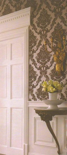 Sophie Conran, Palais Mink Wallpaper from Wallpaper Direct. A luxurious flocked damask suitable for use in a Regency scheme.