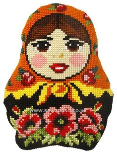 Buy+Russian+Doll+1+Cushion+Front+Chunky+Cross+Stitch+Kit+Online+at+www.sewandso.co.uk