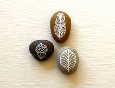Painted Stone Set - Autumn Stones - Original Art - Three Hand-painted Pebbles. $30.00, via Etsy.