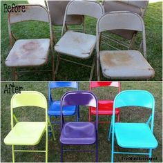DIY Vintage Metal Chair Makeover is part of Vintage metal chairs - I wanted to brighten up my aged and worn vintage metal chairs These dated little chairs just weren't cuttin' it in that pretty colorful backyard of mine I knew I was up for a challenge Vintage Metal Chairs, Metal Folding Chairs, Chaise Vintage, Upcycled Vintage, Decor Vintage, Vintage Patio, Vintage Cushions, Design Vintage, Furniture Makeover