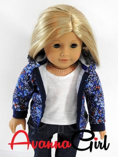 American Girl Doll Hoodie Handmade Crisp, cool days are almost here and your favorite doll should stay warm and fashionable in this fabulous hoodie. It is made using world famous Liberty Of London fab