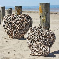 driftwood hearts from Buy The Sea I Love Heart, With All My Heart, Happy Heart, Heart In Nature, Heart Art, Driftwood Crafts, Driftwood Ideas, Driftwood Beach, Sticks And Stones