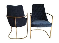 Hollywood Regency Navy Tufted Chairs - A Pair on Chairish.com