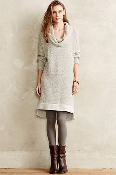 I like the mid-length sweater dress for winter, with tall or shorter boots