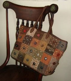 Japanese Patchwork Bag. Lots of different browns and taupes managing to hit it off. Love the buttons.