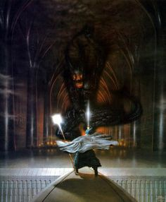 Ted Nasmith: Gandalf and the Balrog.my absolute favorite painting illustrating a scene from LOTR Jrr Tolkien, Tolkien Books, Legolas, Aragorn, Gandalf Balrog, Fellowship Of The Ring, Lord Of The Rings, Lord Rings, High Fantasy