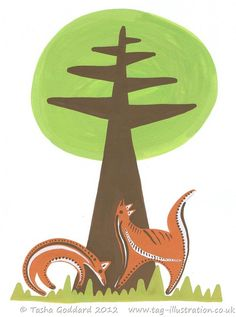 Foxes At The Foot Of The Tree   © Tasha Goddard 2012   www.tag-illustration.co.uk