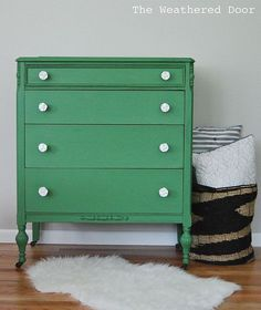 A Mossy Green Dresser Makeover with White Rose Knobs!
