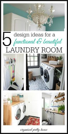 Laundry room decor and design ideas for a renovation. Thinking about layout, storage and organization. Plus, drying rack...