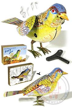 Singing Bird : Kohler Germany : 1950 Animated Tin Toy : Whistling Flapping Bird