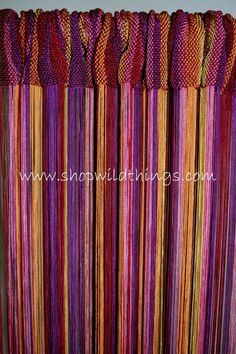 This fabulous tropical multi-color string curtain includes: orange, deep red, rose, yellow, deep purple, and brown. Our string curtains have 18 strings per inch and are rayon! There is no sacrifice m