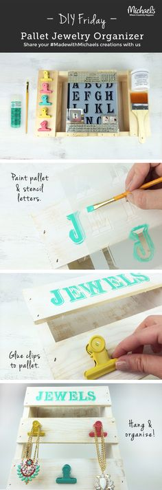Create a stylish jewelry organizer using a miniature pallet and a few easy steps. Personalize with stencils and paint