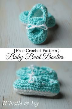 Free Crochet Pattern - Baby Boat Booties. Your little one will be stylin' in these adorable little boat shoes. Free Pattern by Whistle and Ivy