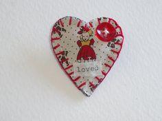 Handmade Heart brooch/pin ornament keepsake by SheilasBlessings