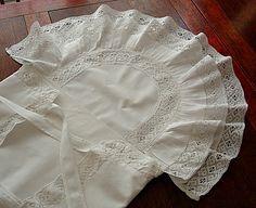 Em's Heart Antique Linens -Antique Linen Baby Christening Blanket