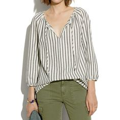 Indigo Stripe Drawstring Blouse - shirts & tops - Women's NEW ARRIVALS - Madewell