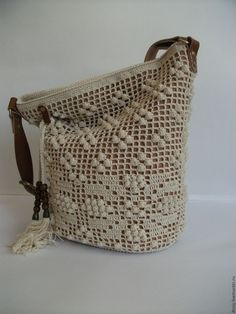 Buy a knitted bag Torba, color: ivory . Bag Crochet, Crochet Clutch, Crochet Handbags, Crochet Purses, Filet Crochet, Diy Handbag, Mini Purse, Knitted Bags, Crochet Accessories