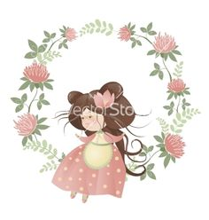 Cute girl in flower wreath vector by masastarus on VectorStock®