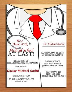 20 graduation party invitations dr medical doctor ebay doctor lab coat doctor graduation invitation medical graduation invite doctor announcement graduation announcement physician graduation invite filmwisefo