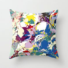 circle color fractures Throw Pillow by Matthias Hennig - $20.00