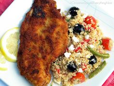 Lemon Chicken Milanese with Couscous Salad by ~CinnamonGirl Couscous Recipes, Couscous Salad, Couscous Meals, Healthy Food Options, Healthy Recipes, Fried Chicken Cutlets, Chicken Milanese, Cinnamon Spice, Turkey Dishes