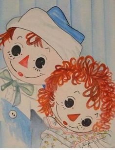 Need identification. Thanks if you can help. Baby Painting, Painting On Wood, Vintage Children's Books, Vintage Dolls, Ann Doll, Raggedy Ann And Andy, Holly Hobbie, 3d Cards, Pictures To Draw