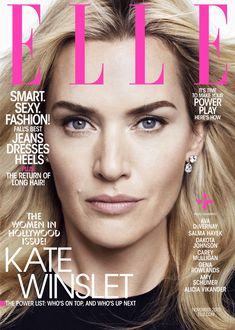 Kate Winslet Pose on ELLE Magazine Cover 2015 Photoshoot