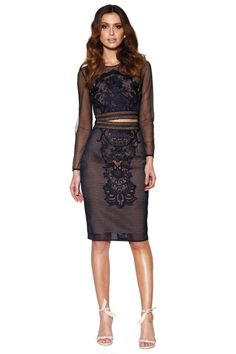 Hire Grace & Hart - Renaissance Set in Navy for a fraction of the retail price for an upcoming birthday party. Dress Hire, Two Piece Dress, Party Fashion, Flare Skirt, Designer Collection, Dresses Online, Designer Dresses, What To Wear, Formal Dresses