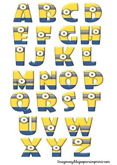 Letters of the alphabet with minions to print Minion Party Theme, Despicable Me Party, Minions Despicable Me, Minion Birthday, Boy Birthday, Party Themes, Happy Birthday, Bolo Minion, Minion Stuff