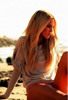 long and straight hair at the beach