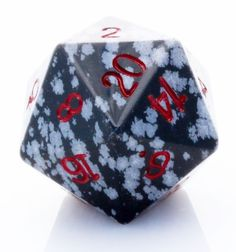 Giant d20 (Snowflake Obsidian) | 25mm RPG Role Playing Game Die