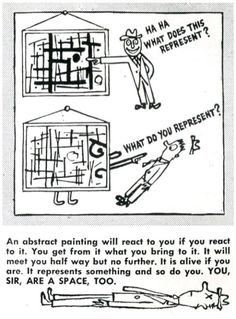 Mathematics doesn't ALWAYS have to be for paying taxes or building bridges. It can be its own thing, and represent its own beauty and joy. From 'How to Look at Art, Arts & Architecture' by Ad Reinhardt, 1947.