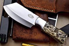 CFK Custom Handmade 1095 TATTOO ART Scrimshaw Mini Cleaver Hunting Skinner Knife