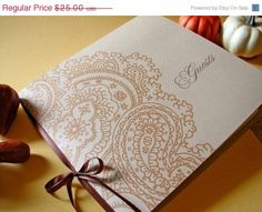 Paisley Wedding Guest Book by Earmark on Etsy Wedding Events, Our Wedding, Dream Wedding, Wedding Cards, Wedding Stuff, Wedding Stationary, Wedding Invitations, Paisley Wedding, Cute Notes