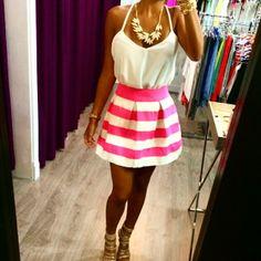pink + white striped skirt & white tank