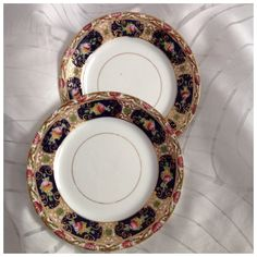 Pair of Vintage Small Plates, Hand Decorated, Multicoloured Floral with Gilt Trim, English Make by BoBisBitsofVintage on Etsy