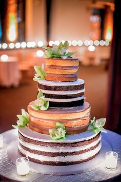 Naked cake!  The frosting is what I really don't like about cake.  This is a good option!  Looks cool with different colored layers.