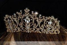 Lucia Victoria Statement Gold Tiara | Swarovski Crystal - Beloved Sparkles - 4