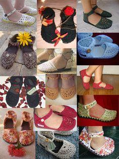 ... Recriando Artes Manuais ...: Calçados de crochê - modelo boneca - crochet shoes