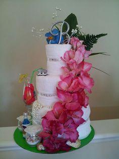 Items similar to Hawaiian Towel Cake for Bridal Shower on Etsy Bridal Shower Cakes, Baby Shower Cakes, Baby Shower Gifts, Bridal Showers, Wedding Towel Cakes, Wedding Cake, Wedding Dress, Kitchen Shower Decorations, Dish Towel Cakes