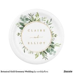 Botanical Gold Greenery Wedding Paper Plate Wedding Plates, Wedding Napkins, Wedding Supplies, Party Supplies, Paper Decorations, Wedding Decorations, Fairy Lights Wedding, Eucalyptus Wedding, Botanical Wedding