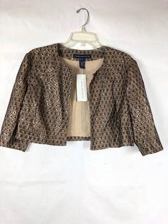 64617f7968b7 French Connection NWT Women's crop Blazer siz 12 lace Gold Black Beige  Jacket 20 #FrenchConnection #Blazer