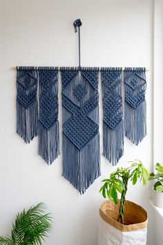 Macrame wall hanging / woven wall tapestry / W40 Blue
