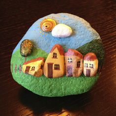 Little town #rockpainting